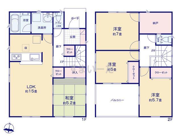クレイドルガーデン 熊本市南区城南町千町 第1-III期の見取り図