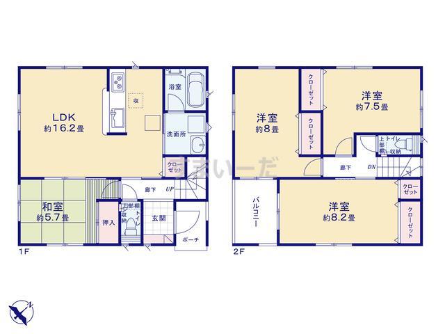 クレイドルガーデン 北九州市小倉南区北方 第5の見取り図