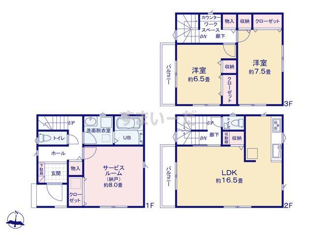 リナージュ 神戸市東灘区20-1期の見取り図
