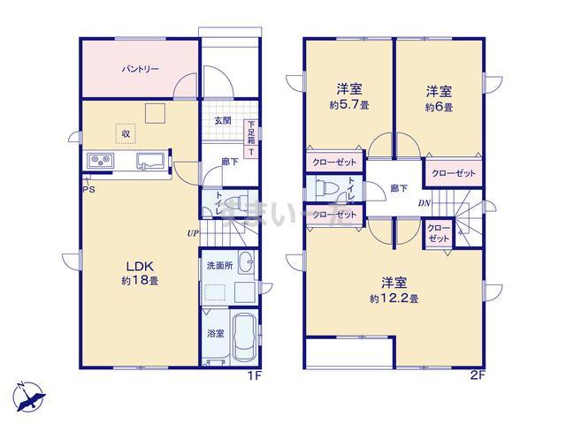 グラファーレ 新潟市曽野木2棟の見取り図