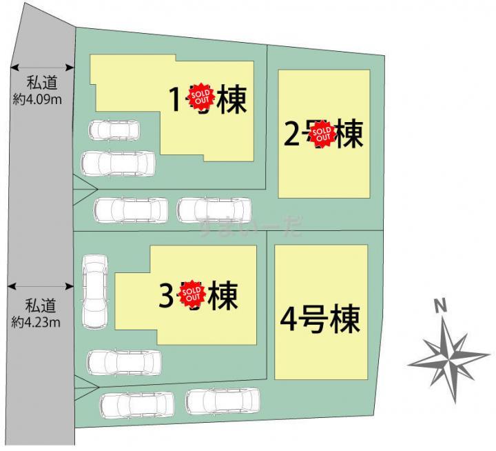 ブルーミングガーデン 福岡市東区若宮2丁目4棟-長期優良住宅-の見取り図