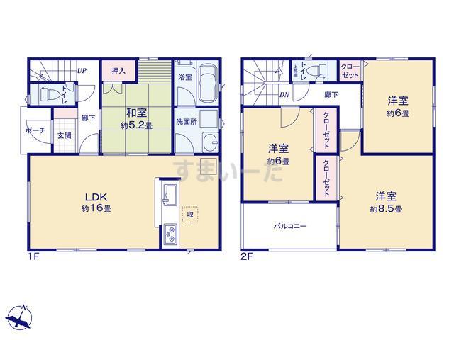 クレイドルガーデン 熊本市北区龍田 第1の見取り図