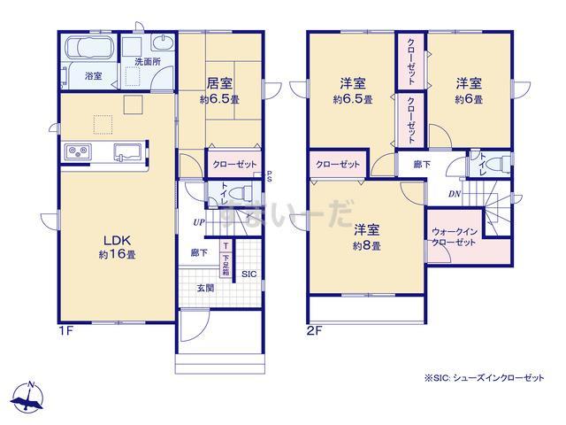 グラファーレ 新潟市太夫浜新町3期2棟の見取り図