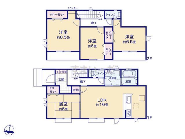 グラファーレ 会津若松市門田町3棟の見取り図