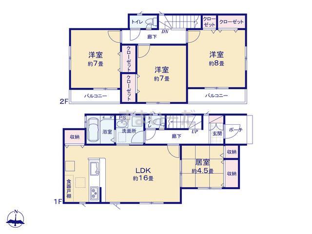 グラファーレ 北上市村崎野3棟の見取り図