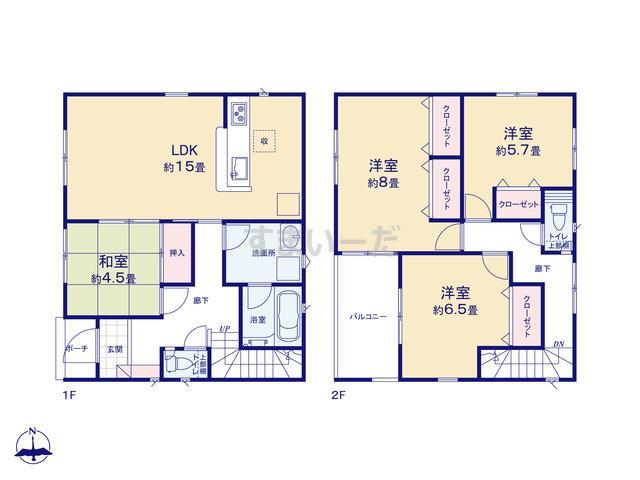 クレイドルガーデン 名古屋市中川区江松 第8の見取り図