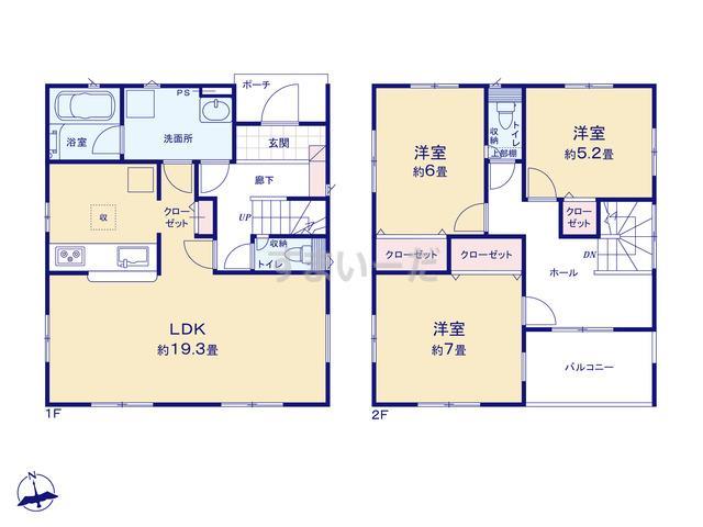 クレイドルガーデン 千葉市若葉区桜木 第6の見取り図