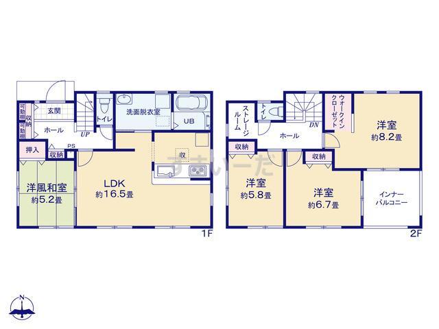 リーブルガーデン 栄区桂台西の見取り図