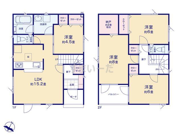 クレイドルガーデン 札幌市白石区菊水上町四条 第2の見取り図