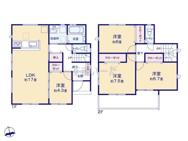 グラファーレ 北九州市高須南2棟の見取り図