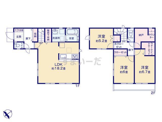 グラファーレ 神戸市高倉台2棟の見取り図