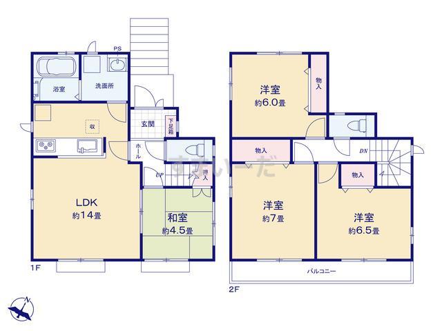 ハートフルタウン 神戸須磨区東落合Ⅱの見取り図