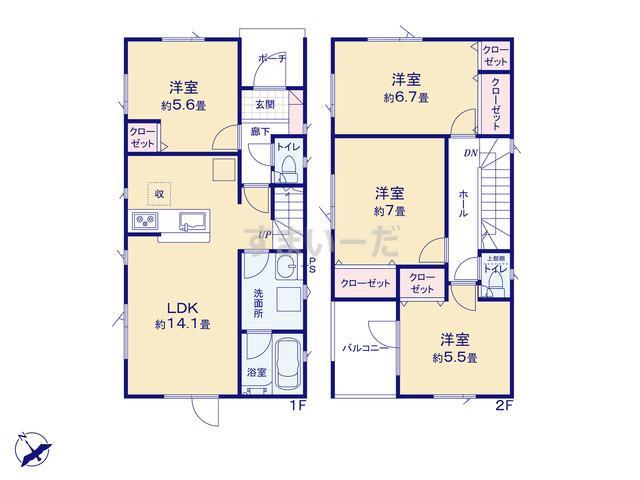 クレイドルガーデン 札幌市北区新琴似六条 第1の見取り図