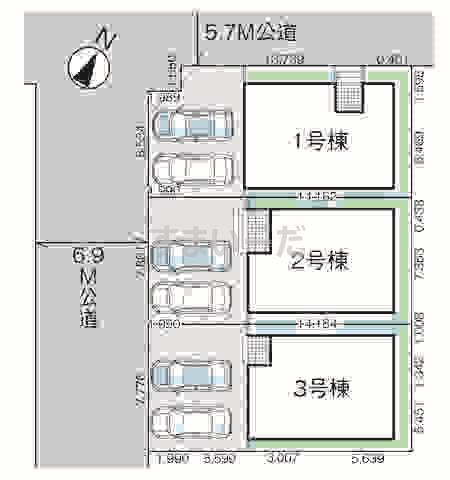 グラファーレ 新潟市紫竹2期3棟の見取り図