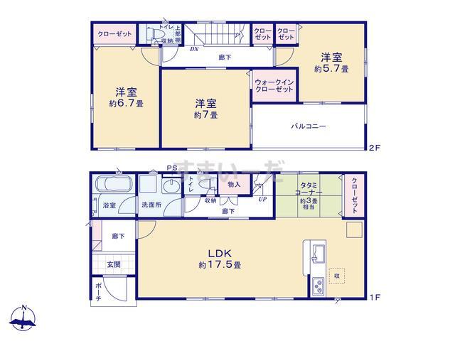 クレイドルガーデン 奥州市水沢桜屋敷西 第1の見取り図