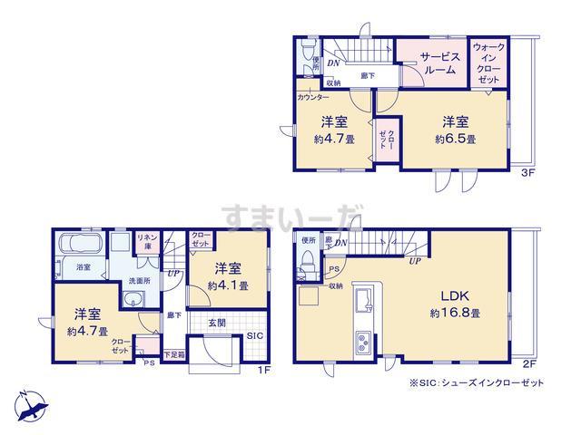 グラファーレ 朝霞市三原9期2棟の見取り図