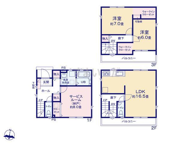 リナージュ 名古屋市南区鶴見通20-1期の見取り図