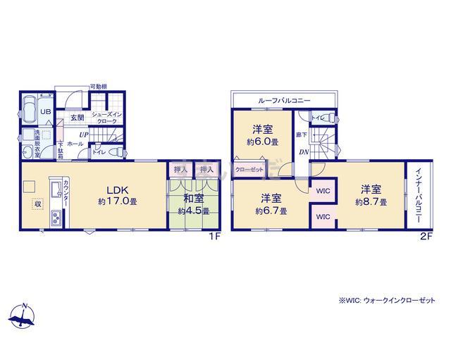リナージュ 富岡市内匠20-1期の見取り図