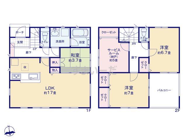クレイドルガーデン 名古屋市中村区八社 第2の見取り図