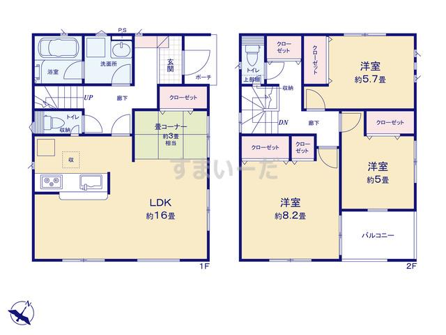 クレイドルガーデン 新潟市東区紫竹 第7の見取り図