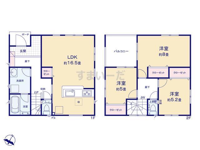 クレイドルガーデン 新潟市東区中山 第2の見取り図