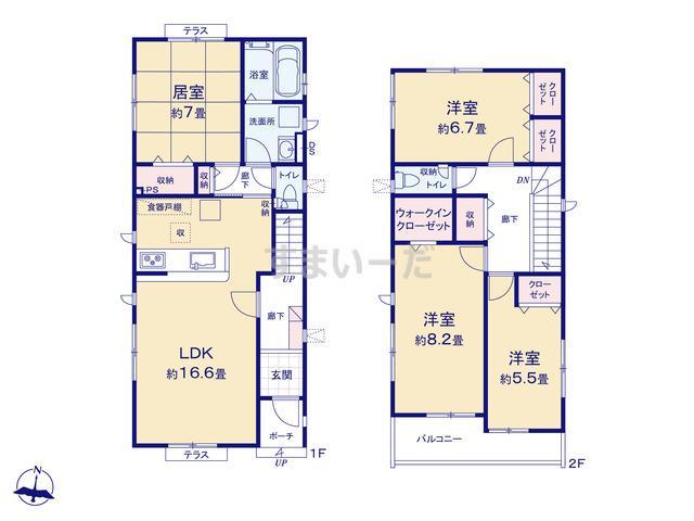 グラファーレ 仙台市柳生5期2棟の見取り図