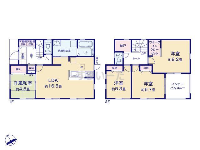 リーブルガーデン 中川区富田町千音寺の見取り図