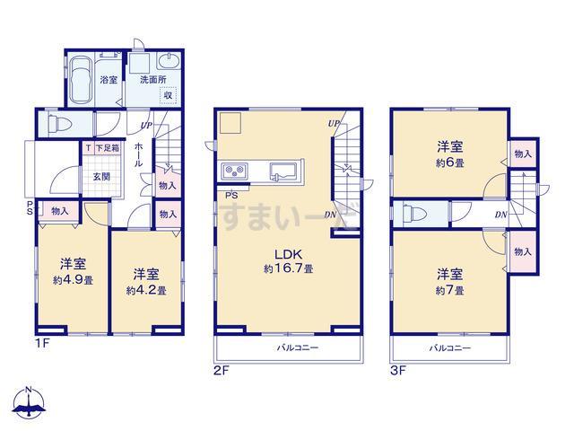 ハートフルタウン 足立区中央本町4期の見取り図