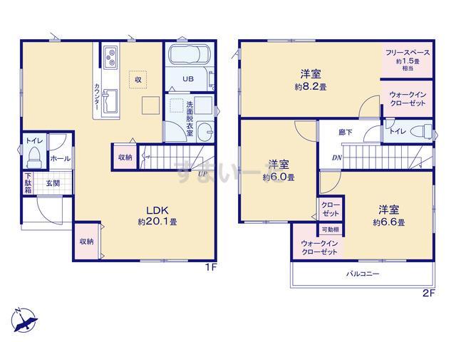 リナージュ 浜松市中区茄子町20-1期の見取り図