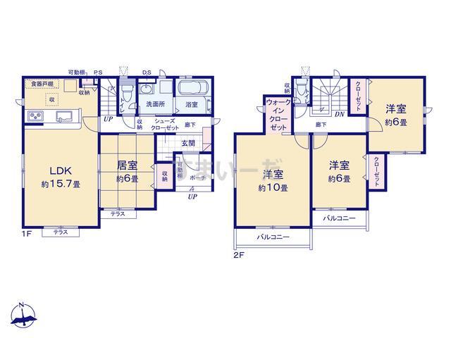 グラファーレ 仙台市遠見塚6期1棟の見取り図