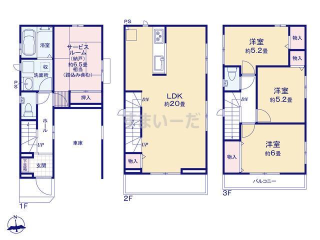 ハートフルタウン 第1大阪城東東中浜の見取り図