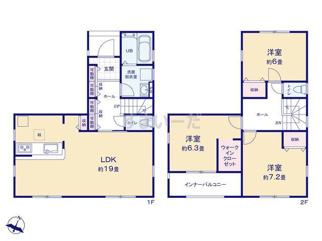 リーブルガーデン 江南区亀田中島第1の見取り図