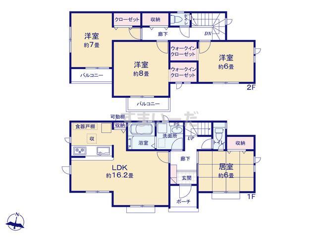 グラファーレ 仙台市鶴ヶ谷東2期1棟の見取り図
