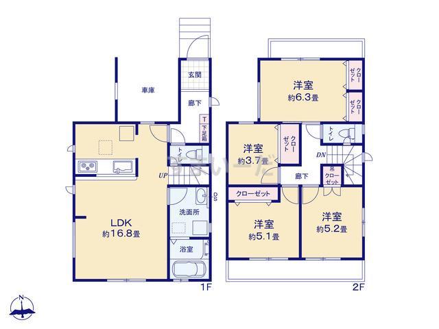 グラファーレ 3943清須市清洲2期2棟の見取り図