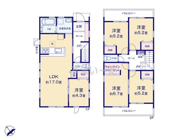 リーブルガーデン 清須市土器野宮東の見取り図