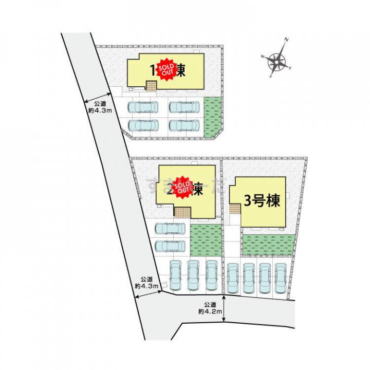 ブルーミングガーデン 南アルプス十日市場3棟-長期優良住宅-の見取り図