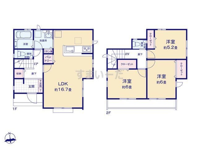 グラファーレ 相模原市東橋本3期1棟の見取り図