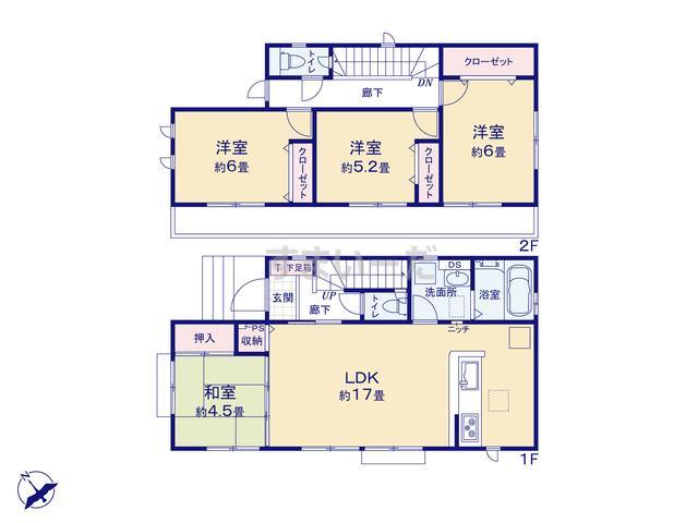 グラファーレ 武蔵村山市三ツ木17棟の見取り図