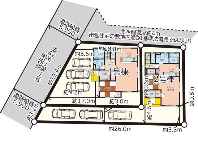 グラファーレ 大竹市黒川2棟の見取り図