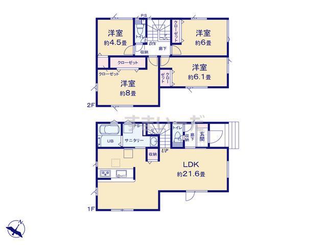 グラファーレ 札幌市中の島2棟の見取り図