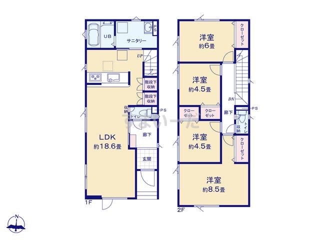 グラファーレ 札幌市澄川3期2棟の見取り図