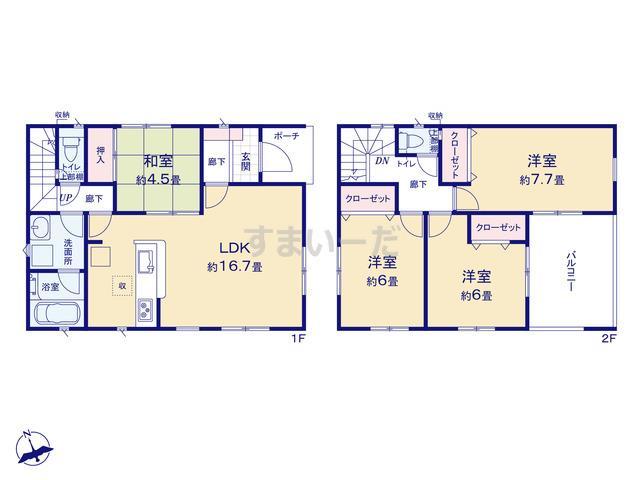 クレイドルガーデン 姫路市広畑区才 第6の見取り図