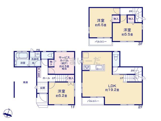 ハートフルタウン 江戸川区北篠崎2丁目の見取り図