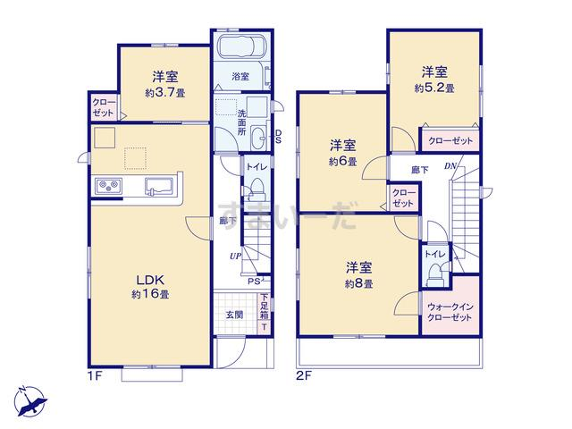 グラファーレ 千葉市矢作町7期2棟の見取り図