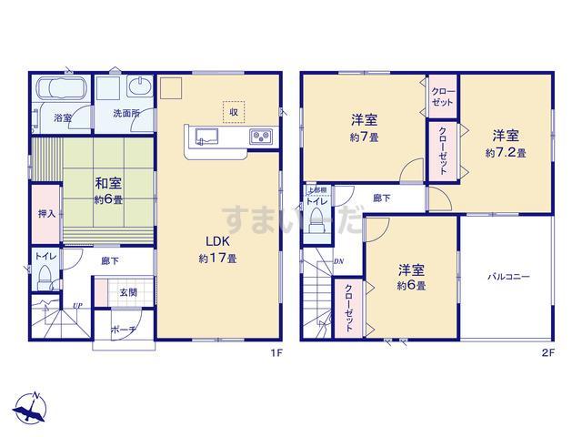 クレイドルガーデン 静岡市清水区北脇新田 第6の見取り図