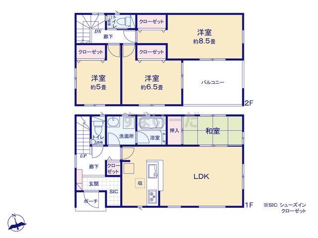 クレイドルガーデン 仙台市青葉区北根 第1の見取り図
