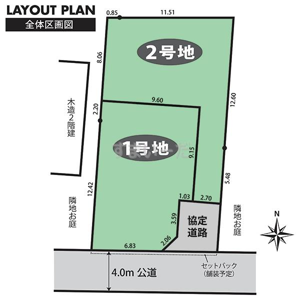 土地 ブルーミングガーデン さいたま市見沼区大和田町2丁目3期2区画の見取り図