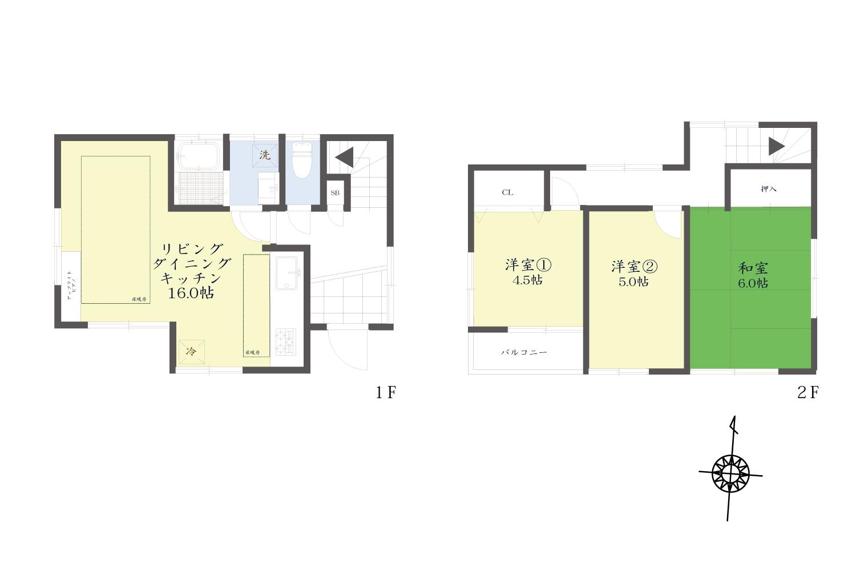 2階建て、LDKには床暖房が設置してございます
