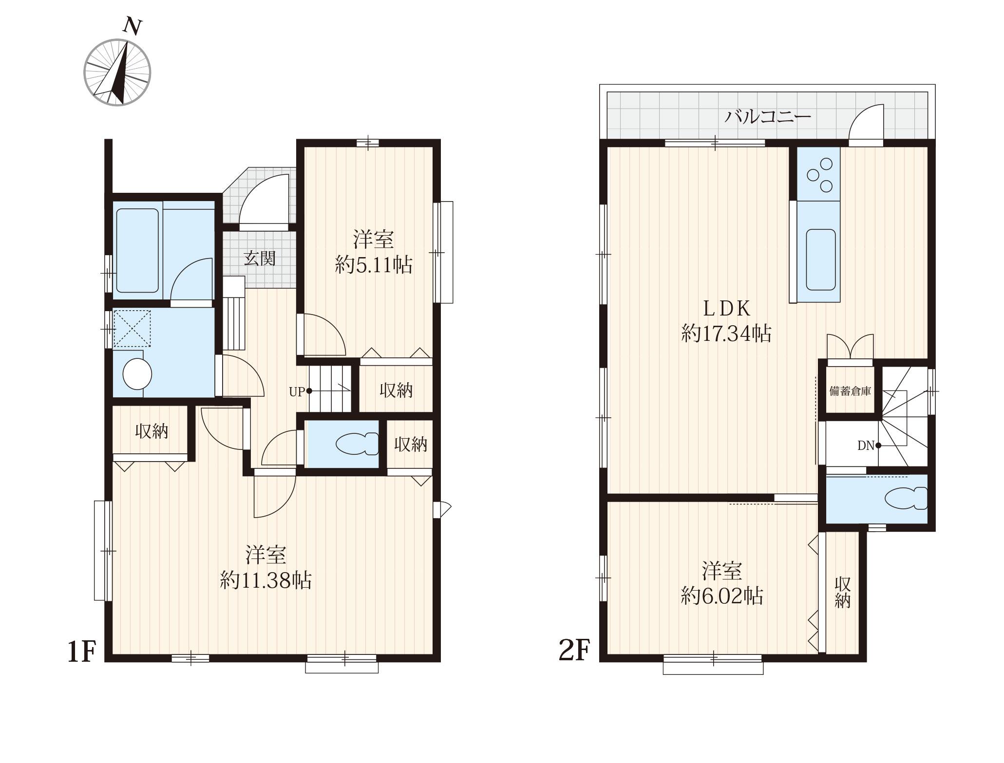 ■3LDK 、主寝室広々約11.38帖、2台分駐車場有