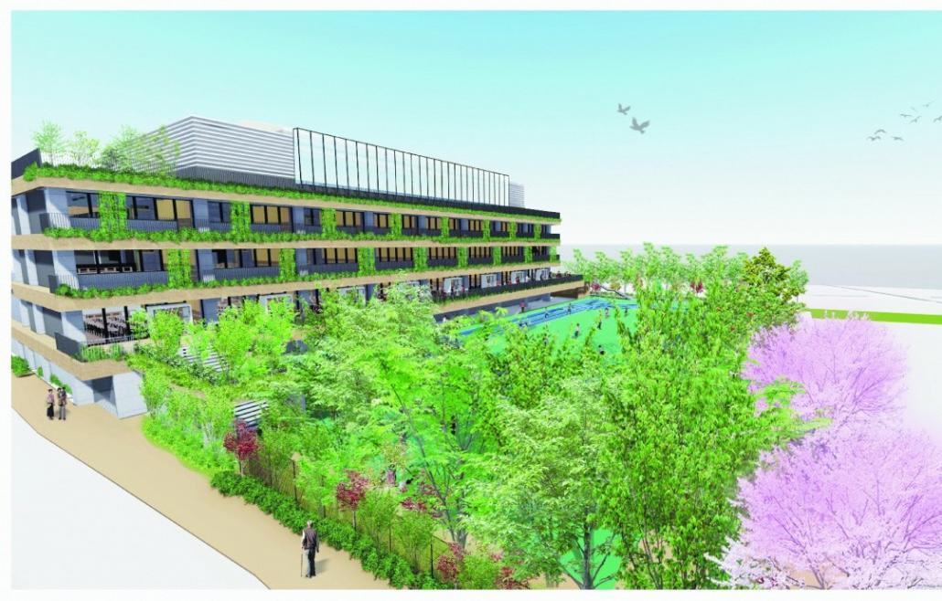 現在建て替え中の池袋第一小学校の完成予想図(令和4年8月完成予定)